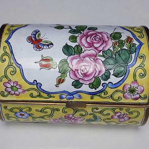 国外回流铜胎画珐琅彩 花鸟卉纹 茶叶盒