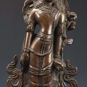 清代 藏传   白度母像  铜佛像