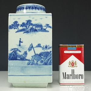 清代 青花  山水人物纹  茶叶罐