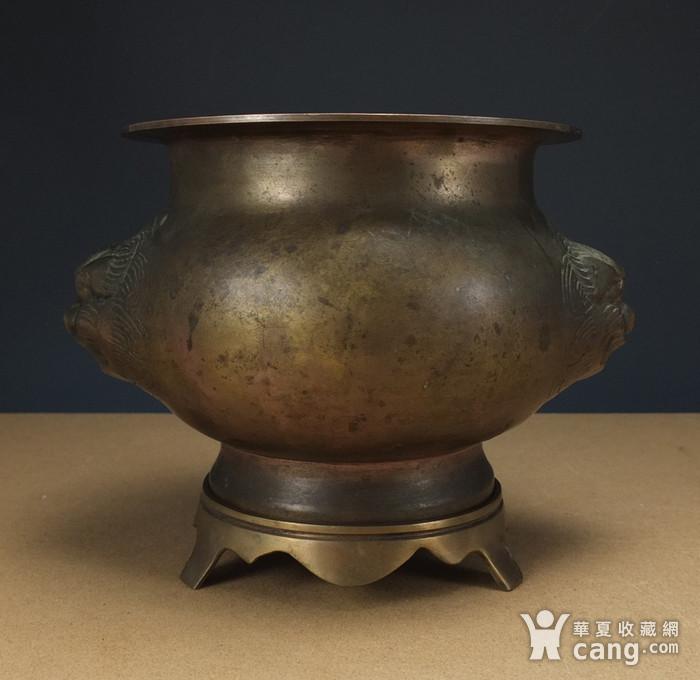 清代  带底托双兽耳 铜香炉图2