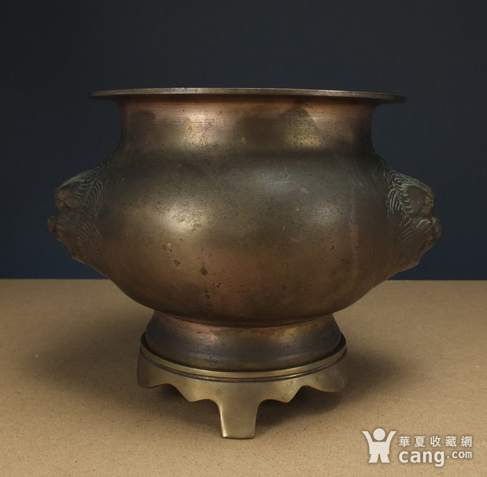 清代  带底托双兽耳 铜香炉图4