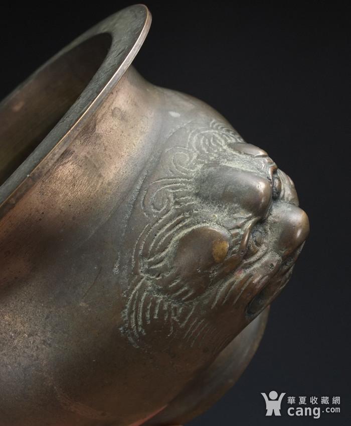 清代  带底托双兽耳 铜香炉图6