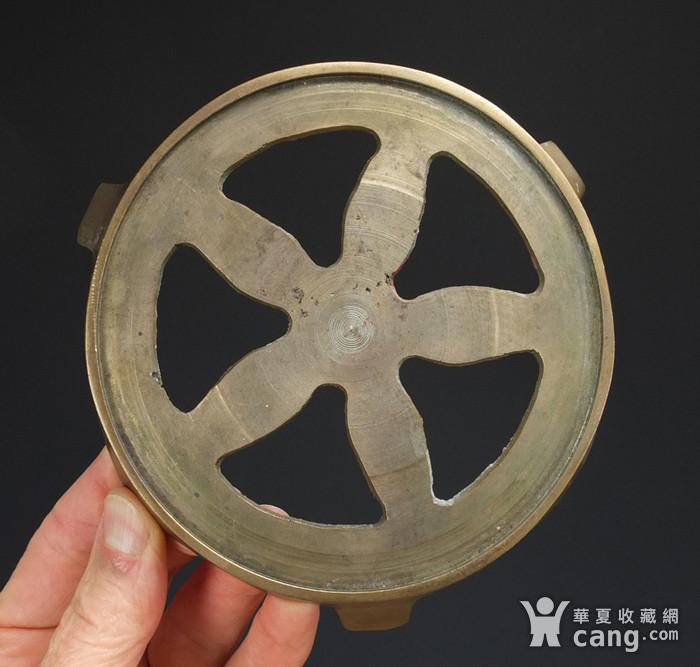 清代  带底托双兽耳 铜香炉图7