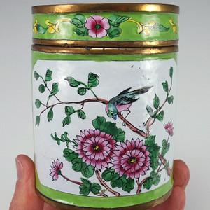 国外回流铜胎画珐琅彩  茶叶罐