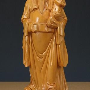 民国 黄杨木 财神到 雕塑像  摆件