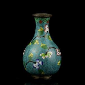 乐藏5号 清晚铜胎掐丝珐琅花卉纹观音瓶