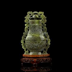 乐藏17号 民国饕餮纹玉壶