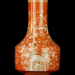 乐藏34号 民国矾红彩喜上梅梢纹大瓶