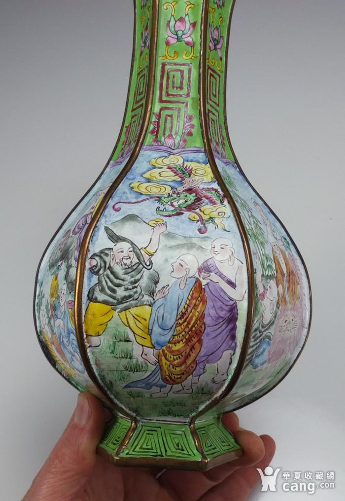 清代铜胎画珐琅彩 山水人物纹 六棱赏瓶图8