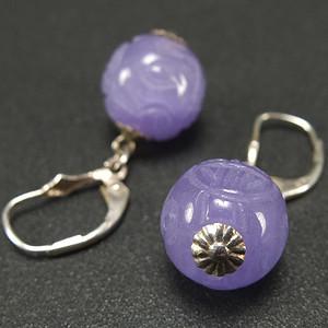 美国回流 925银 天然紫色翡翠 耳环一对