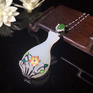 和田玉  925银  金镶玉 款式     花瓶  平平安安