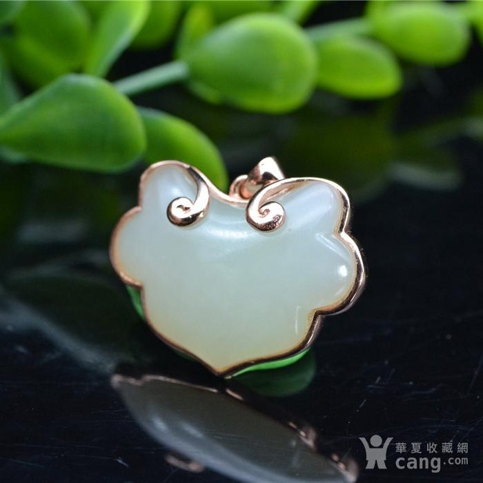 和田玉 925银 金镶玉 系列  宝宝锁图3