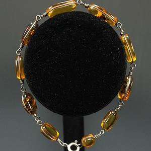 暴老波罗的海 天然原矿琥珀 925银手链
