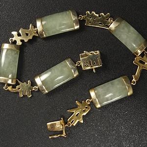 国外回流银鎏金镶嵌天然翡翠 手链