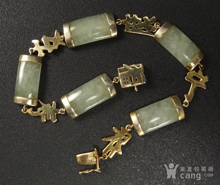 国外回流银鎏金镶嵌天然翡翠 手链图1