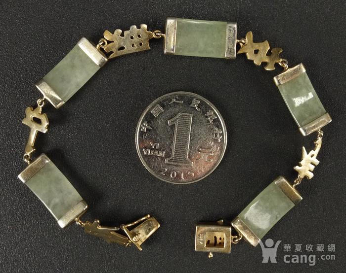 国外回流银鎏金镶嵌天然翡翠 手链图2