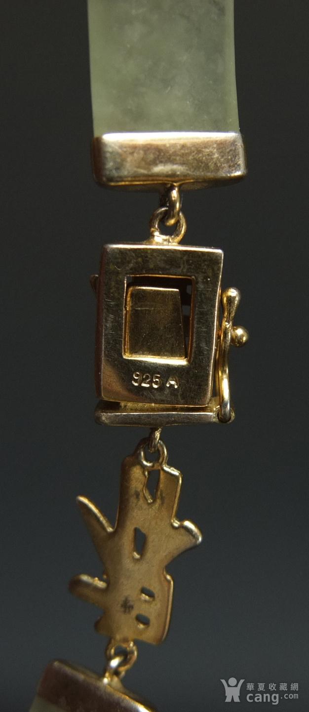 国外回流银鎏金镶嵌天然翡翠 手链图6