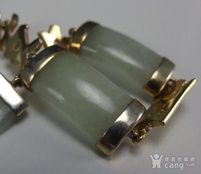 国外回流银鎏金镶嵌天然翡翠 手链图9