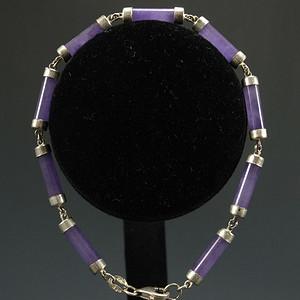 美国回流 925银镶嵌 天然紫色翡翠 手链