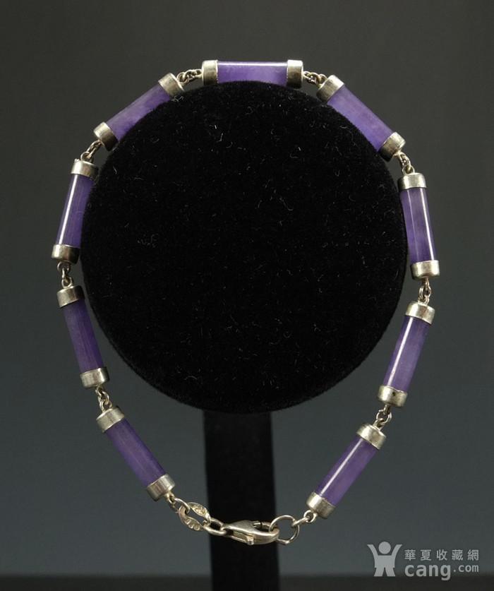 美国回流 925银镶嵌 天然紫色翡翠 手链图1