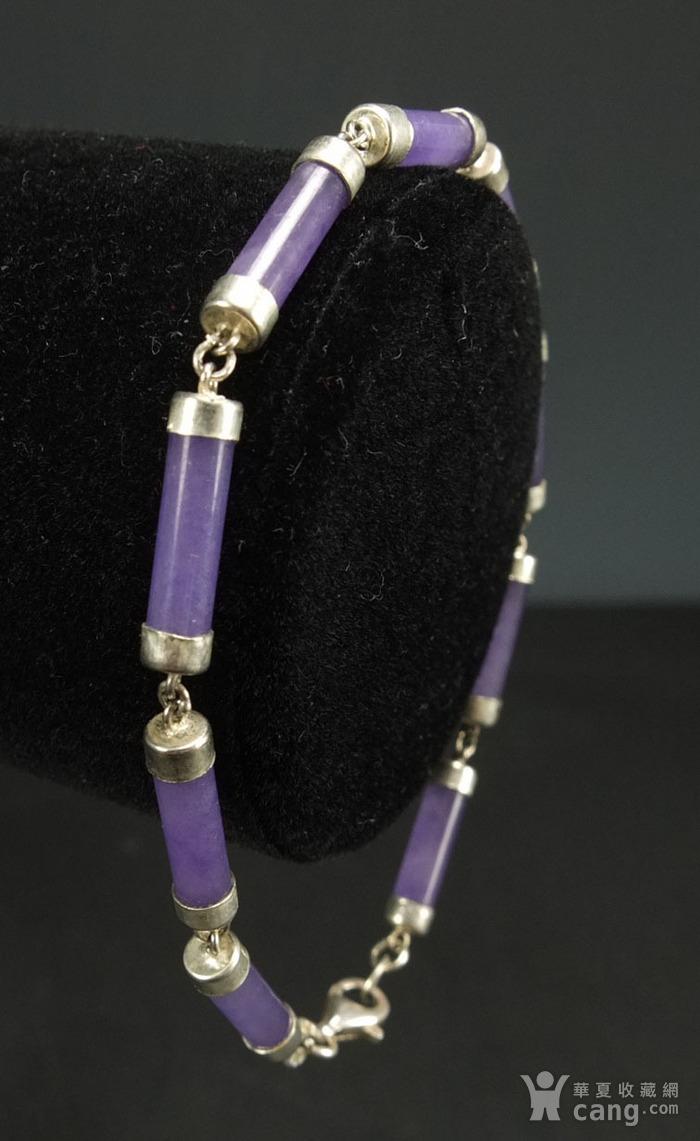 美国回流 925银镶嵌 天然紫色翡翠 手链图2