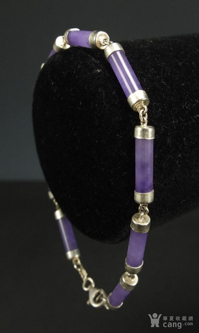 美国回流 925银镶嵌 天然紫色翡翠 手链图3