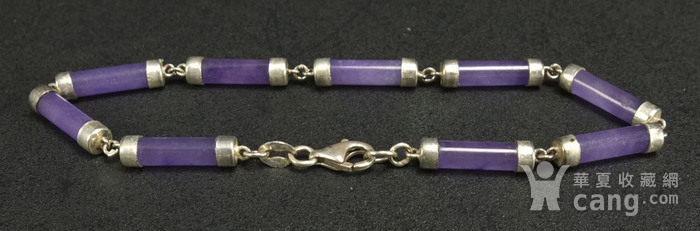 美国回流 925银镶嵌 天然紫色翡翠 手链图4