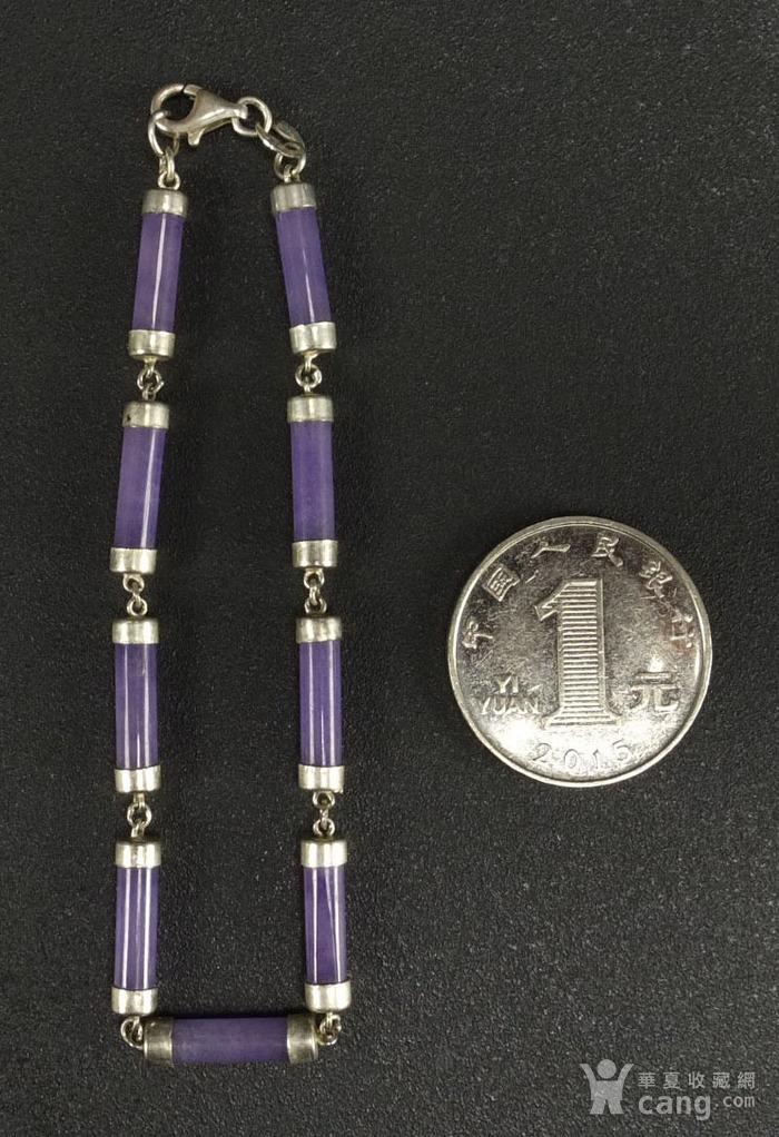 美国回流 925银镶嵌 天然紫色翡翠 手链图5