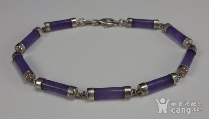 美国回流 925银镶嵌 天然紫色翡翠 手链图7