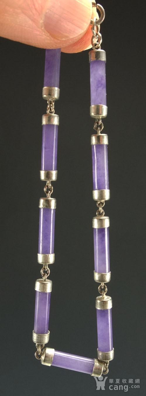 美国回流 925银镶嵌 天然紫色翡翠 手链图9