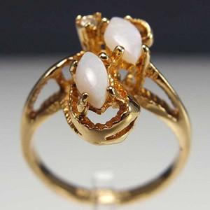 美国回流 鎏金天然欧泊宝石 戒指