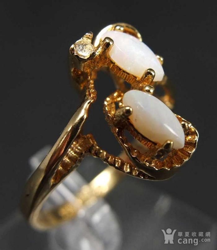 美国回流 鎏金天然欧泊宝石 戒指图4