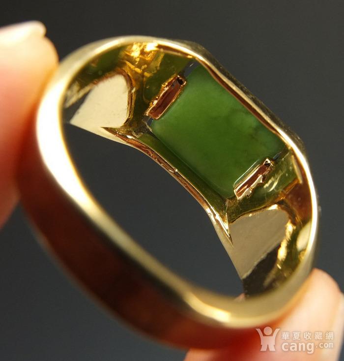 美国回流 鎏金镶嵌天然和田碧玉 戒指图8