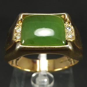 美国回流 鎏金镶嵌天然和田碧玉 戒指
