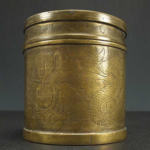 清晚 堑花烧蓝 龙纹 黄铜茶叶盖罐