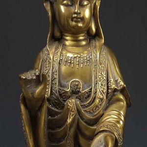 国外回流 鎏金 大观音黄铜像