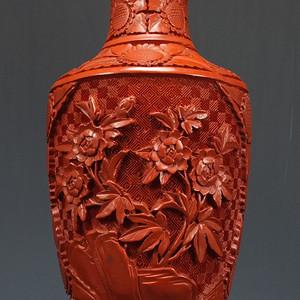 国外回流 铜胎剔红漆器观音瓶