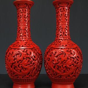 民国 铜胎剔红漆器 牡丹花 天球瓶
