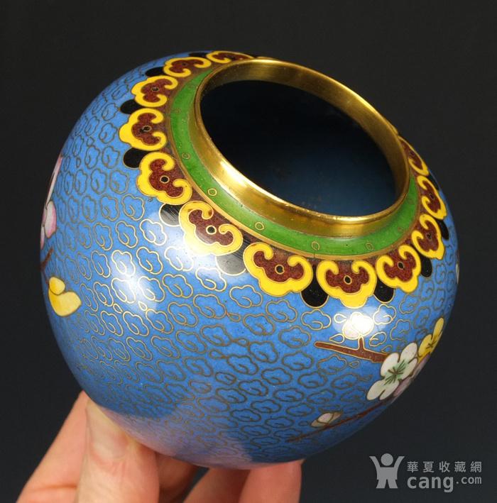 铜胎掐丝珐琅 花绘纹 大盖罐一对图9