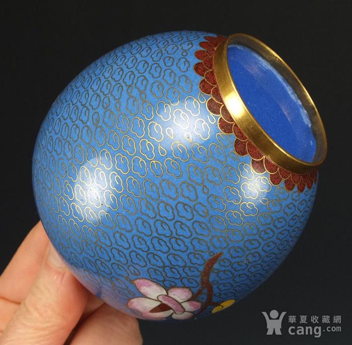 铜胎掐丝珐琅 花绘纹 大盖罐一对图12