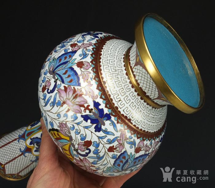 30厘米精品回流铜胎掐丝珐琅 天球瓶一对图6