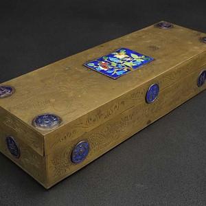 晚清  黄铜清代 铜胎珐琅 烧蓝 四方盒堑花大四方盒