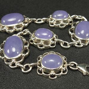 925银镶嵌 天然紫色翡翠 手链