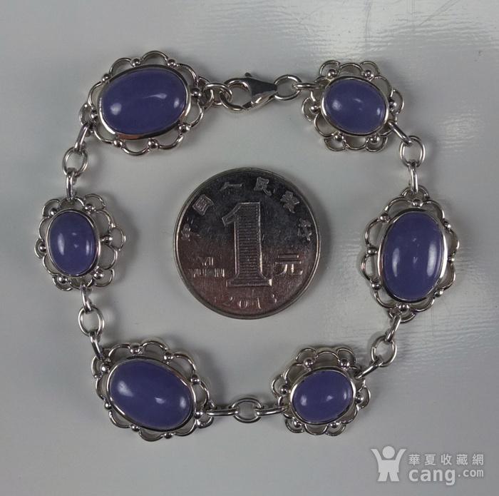 925银镶嵌 天然紫色翡翠 手链图5