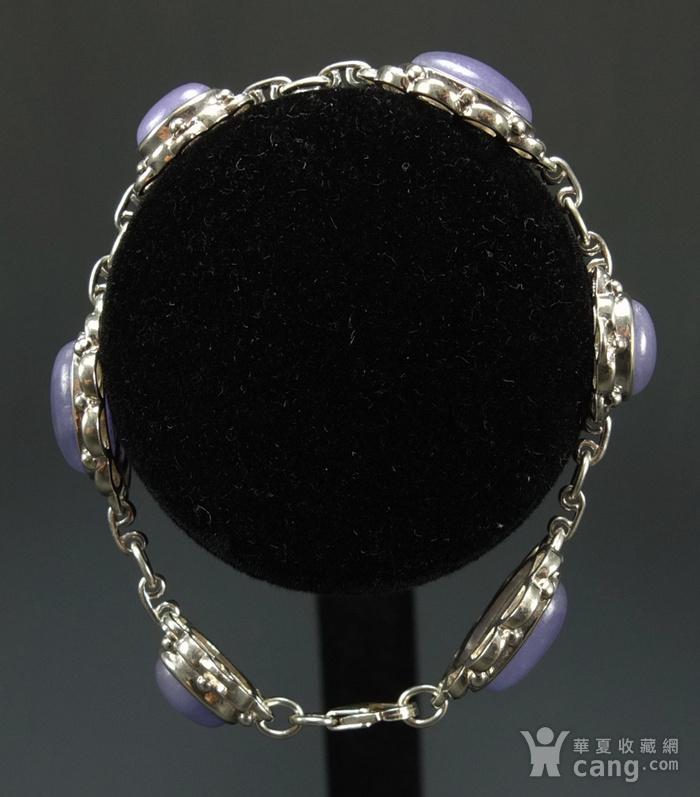 925银镶嵌 天然紫色翡翠 手链图4