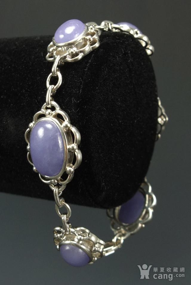 925银镶嵌 天然紫色翡翠 手链图8