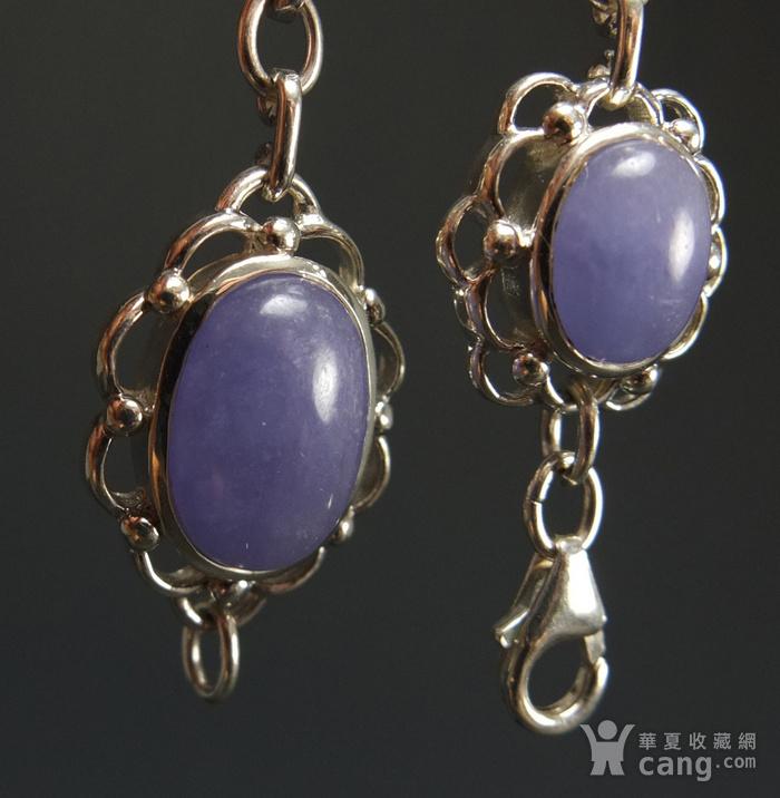 925银镶嵌 天然紫色翡翠 手链图3