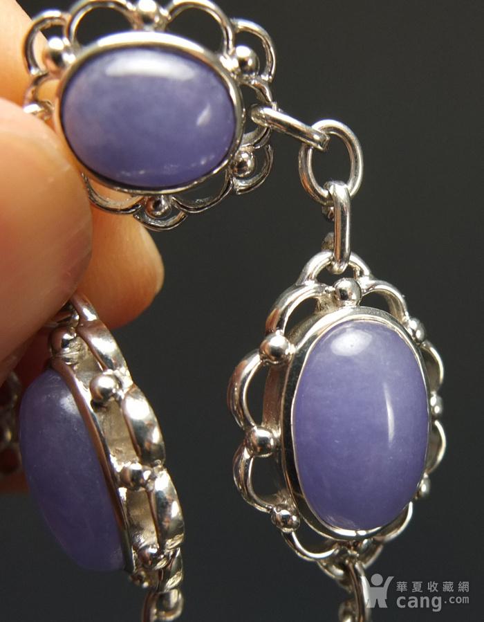 925银镶嵌 天然紫色翡翠 手链图2