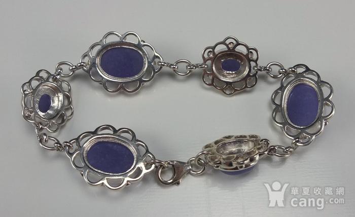925银镶嵌 天然紫色翡翠 手链图11