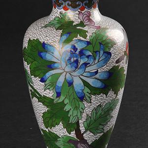 欧美回流 铜胎掐丝珐琅花卉纹瓶
